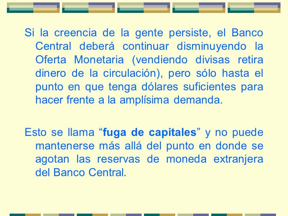 Si la creencia de la gente persiste, el Banco Central deberá continuar disminuyendo la Oferta Monetaria (vendiendo divisas retira dinero de la circula