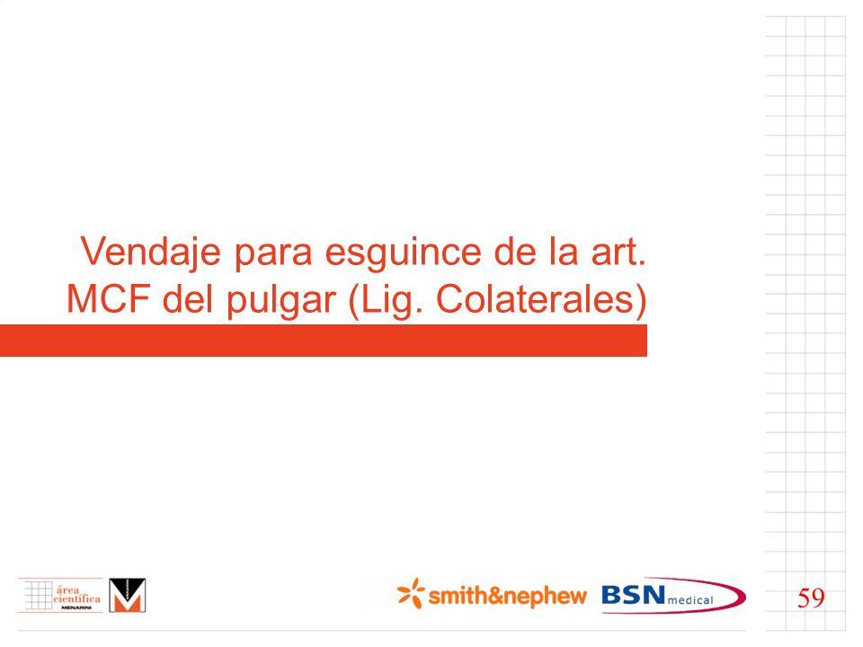 Vendaje para esguince de la art. MCF del pulgar (Lig. Colaterales) 59