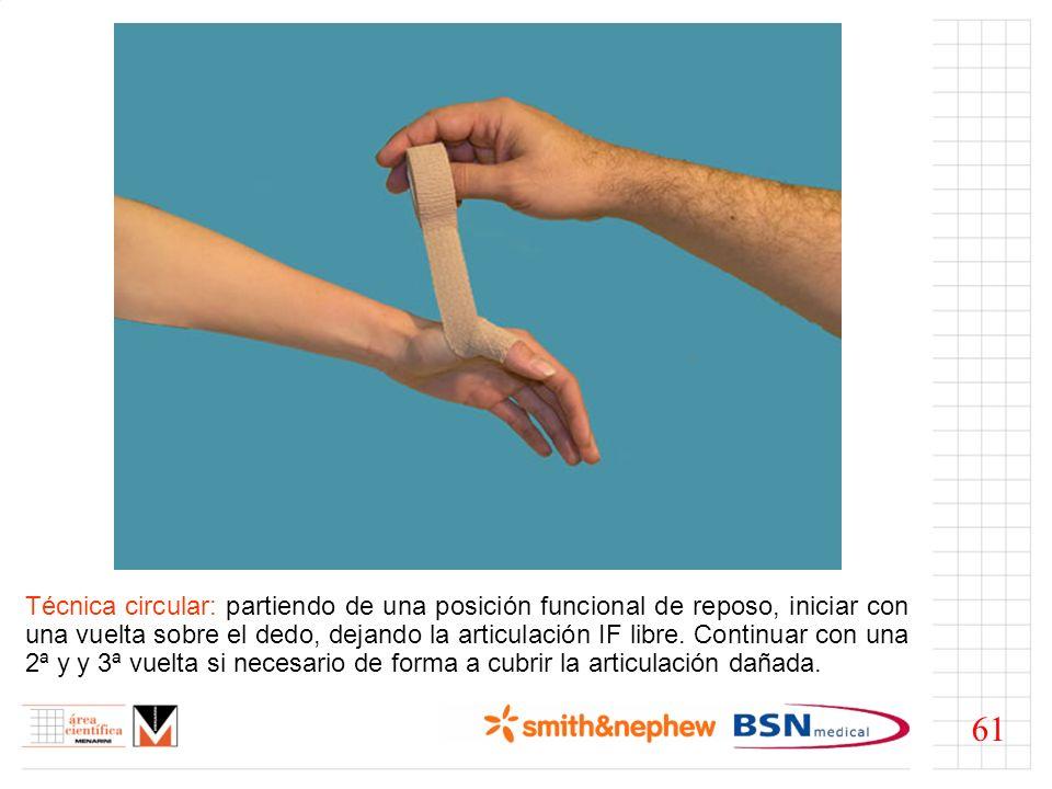 Técnica circular: partiendo de una posición funcional de reposo, iniciar con una vuelta sobre el dedo, dejando la articulación IF libre. Continuar con