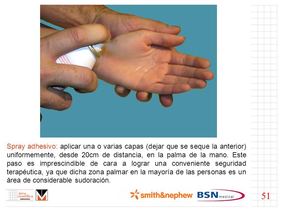 Spray adhesivo: aplicar una o varias capas (dejar que se seque la anterior) uniformemente, desde 20cm de distancia, en la palma de la mano. Este paso