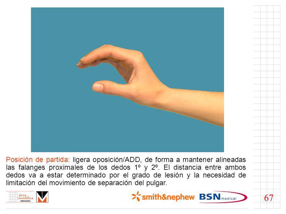 Estribo: partiendo de una posición funcional de reposo, iniciar mediante una tira continua circular de Tape de 2cm a nivel de ambas falanges proximales del pulgar y el índice.