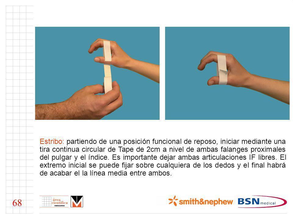 Tira de cierre o fijación: por último aplicar una pequeña tira, en el mismo centro entre ambos dedos, en sentido transversal al estribo y que lo cubra por completo, uniendo este por ambas caras adhesivas.