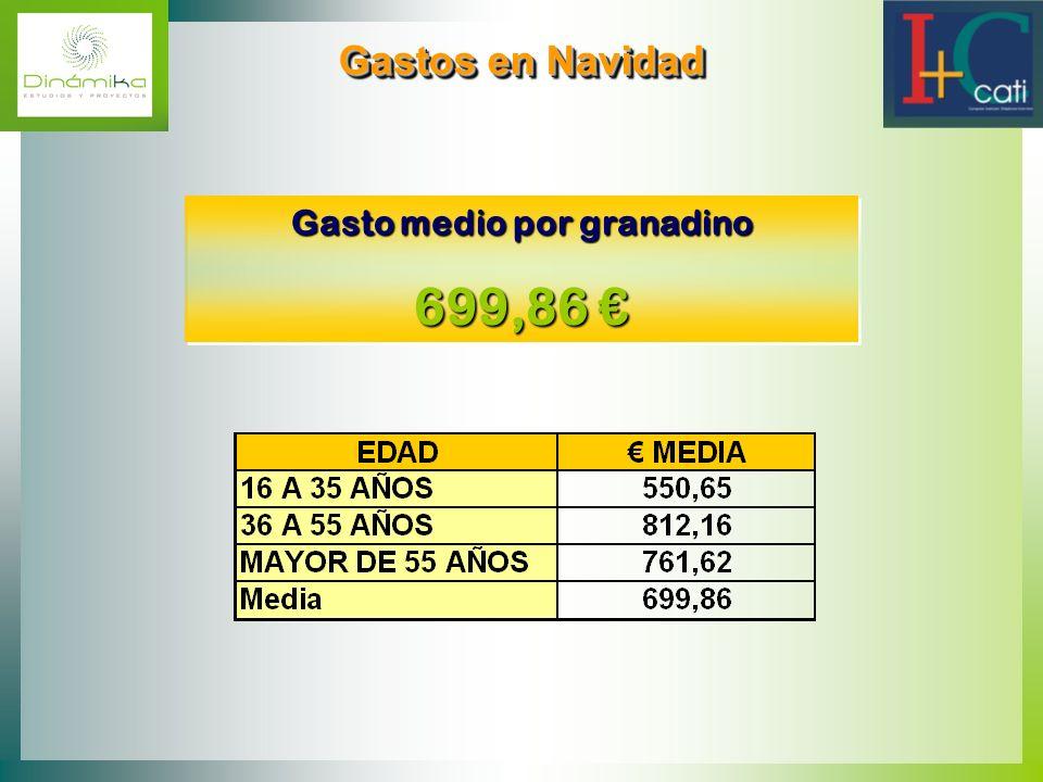 Gastos en Navidad Gastos en Navidad Gasto medio por granadino 699,86 699,86 Gasto medio por granadino 699,86 699,86