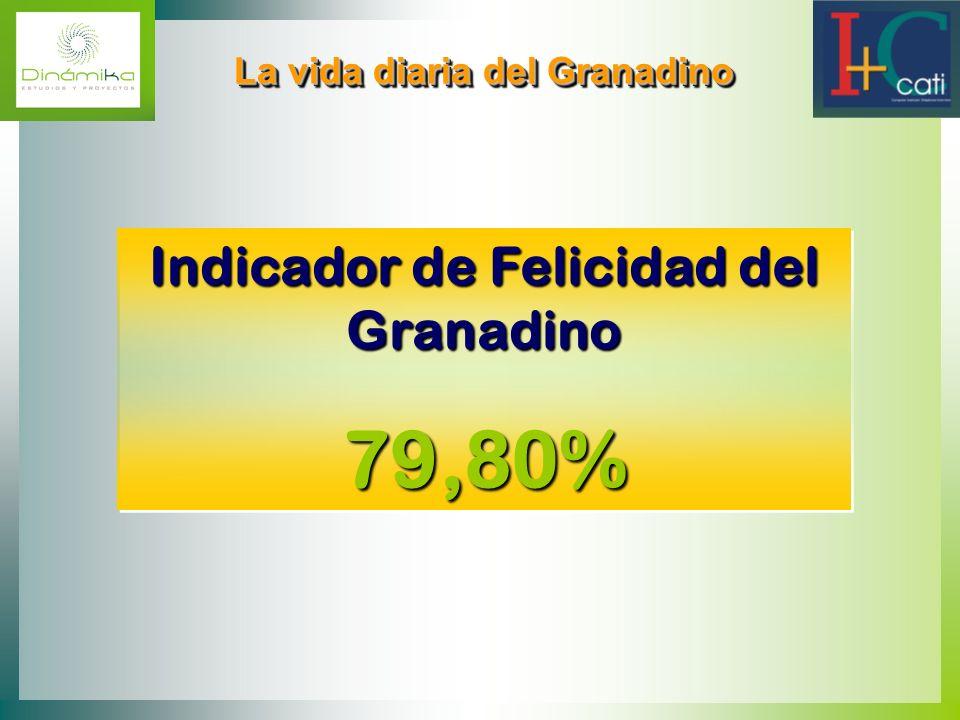 La vida diaria del Granadino Indicador de Felicidad del Granadino 79,80% Indicador de Felicidad del Granadino 79,80%