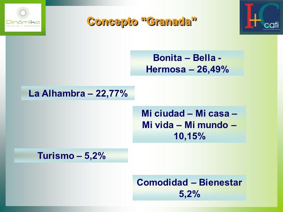 Concepto Granada Concepto Granada Bonita – Bella - Hermosa – 26,49% La Alhambra – 22,77% Mi ciudad – Mi casa – Mi vida – Mi mundo – 10,15% Turismo – 5