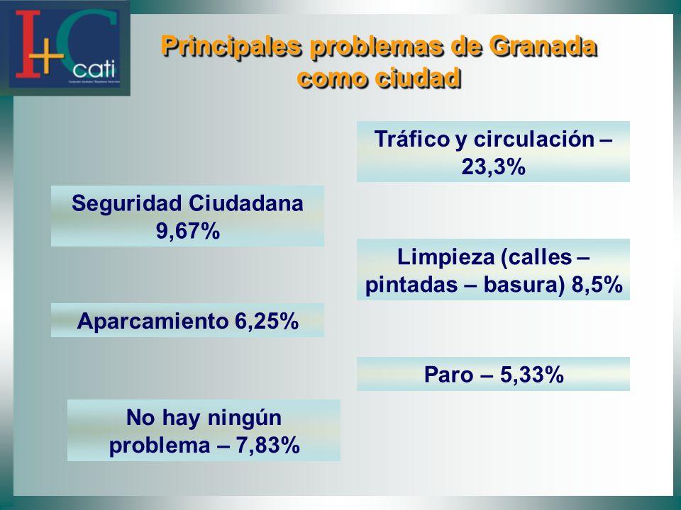 Principales problemas de Granada como ciudad Principales problemas de Granada como ciudad Tráfico y circulación – 23,3% Seguridad Ciudadana 9,67% Limpieza (calles – pintadas – basura) 8,5% Aparcamiento 6,25% Paro – 5,33% No hay ningún problema – 7,83%