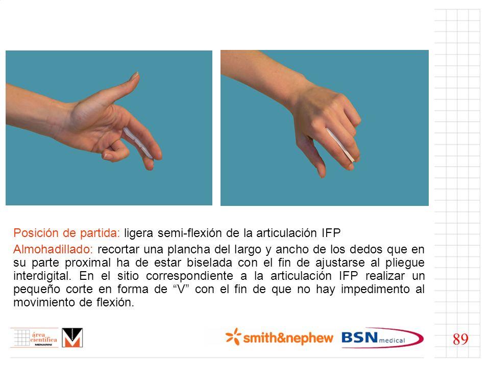 Posición de partida: ligera semi-flexión de la articulación IFP Almohadillado: recortar una plancha del largo y ancho de los dedos que en su parte pro