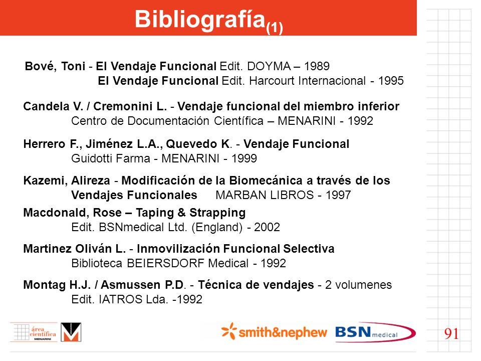 Bibliografía (1) Bové, Toni - El Vendaje Funcional Edit. DOYMA – 1989 El Vendaje Funcional Edit. Harcourt Internacional - 1995 Candela V. / Cremonini