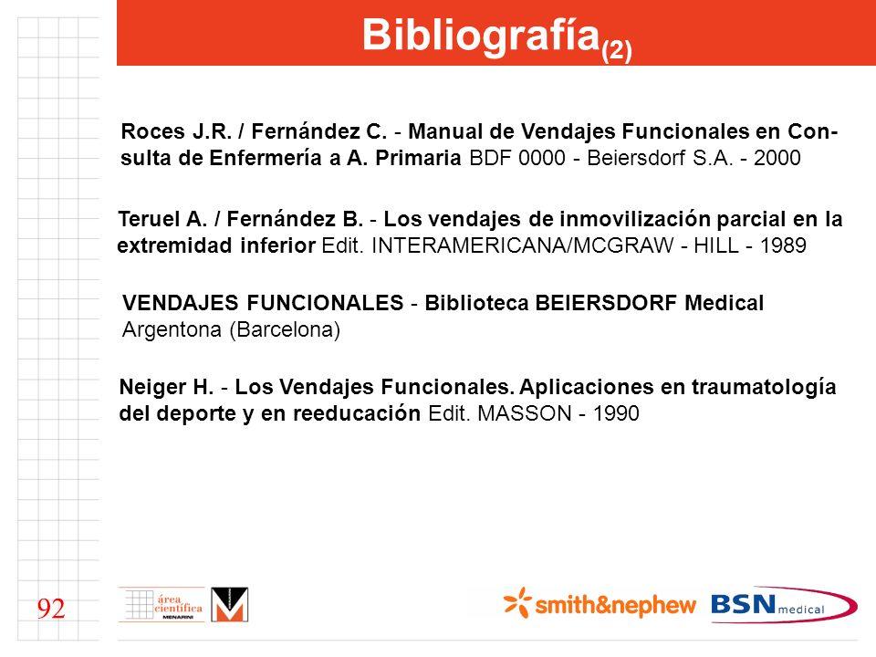 Bibliografía (2) Roces J.R. / Fernández C. - Manual de Vendajes Funcionales en Con- sulta de Enfermería a A. Primaria BDF 0000 - Beiersdorf S.A. - 200