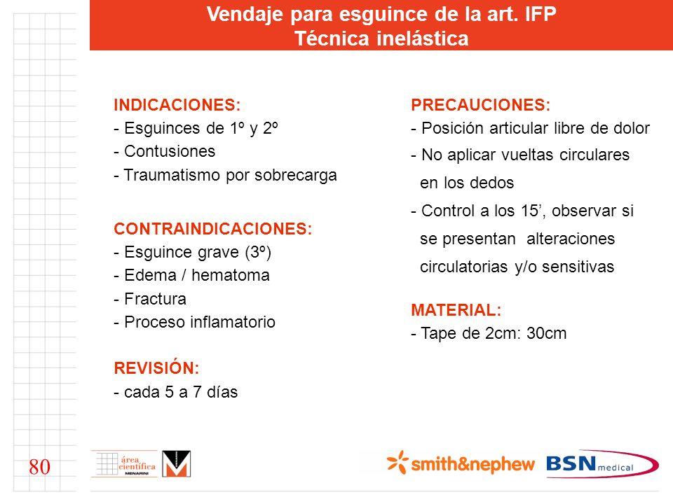 Vendaje para esguince de la art. IFP Técnica inelástica INDICACIONES: - Esguinces de 1º y 2º - Contusiones - Traumatismo por sobrecarga CONTRAINDICACI
