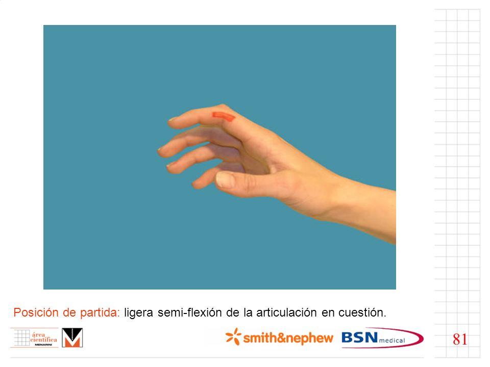 Posición de partida: ligera semi-flexión de la articulación en cuestión. 81