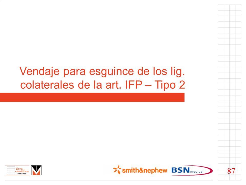 Vendaje para esguince de los lig. colaterales de la art. IFP – Tipo 2 87