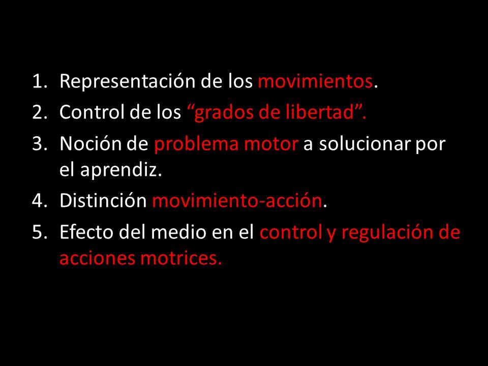 1.Representación de los movimientos. 2.Control de los grados de libertad. 3.Noción de problema motor a solucionar por el aprendiz. 4.Distinción movimi