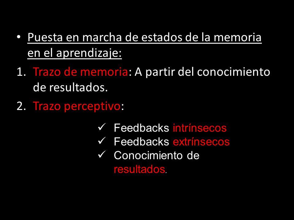 Puesta en marcha de estados de la memoria en el aprendizaje: Puesta en marcha de estados de la memoria en el aprendizaje: 1.Trazo de memoria: A partir