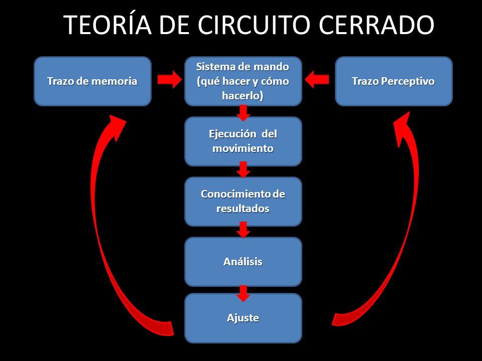 TEORÍA DE CIRCUITO CERRADO Trazo de memoria Sistema de mando (qué hacer y cómo hacerlo) Trazo Perceptivo Ejecución del movimiento Conocimiento de resu