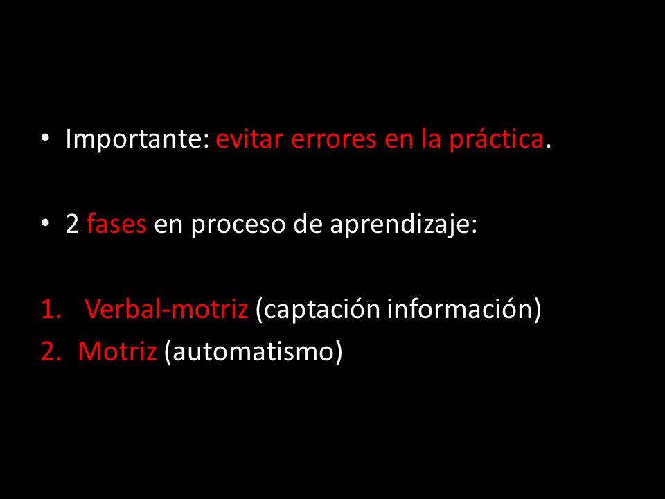 Importante: evitar errores en la práctica. 2 fases en proceso de aprendizaje: 1. Verbal-motriz (captación información) 2.Motriz (automatismo)