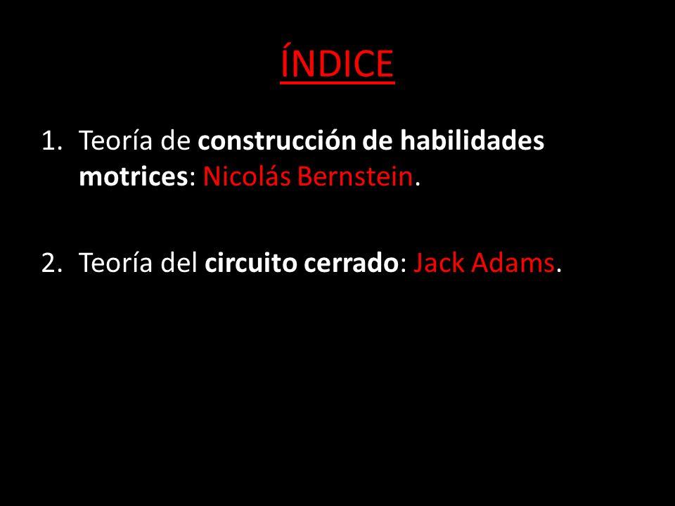 ÍNDICE 1.Teoría de construcción de habilidades motrices: Nicolás Bernstein. 2.Teoría del circuito cerrado: Jack Adams 2.Teoría del circuito cerrado: J