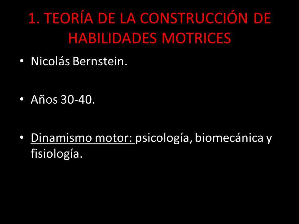 1. TEORÍA DE LA CONSTRUCCIÓN DE HABILIDADES MOTRICES Nicolás Bernstein. Años 30-40. Dinamismo motor: psicología, biomecánica y fisiología.
