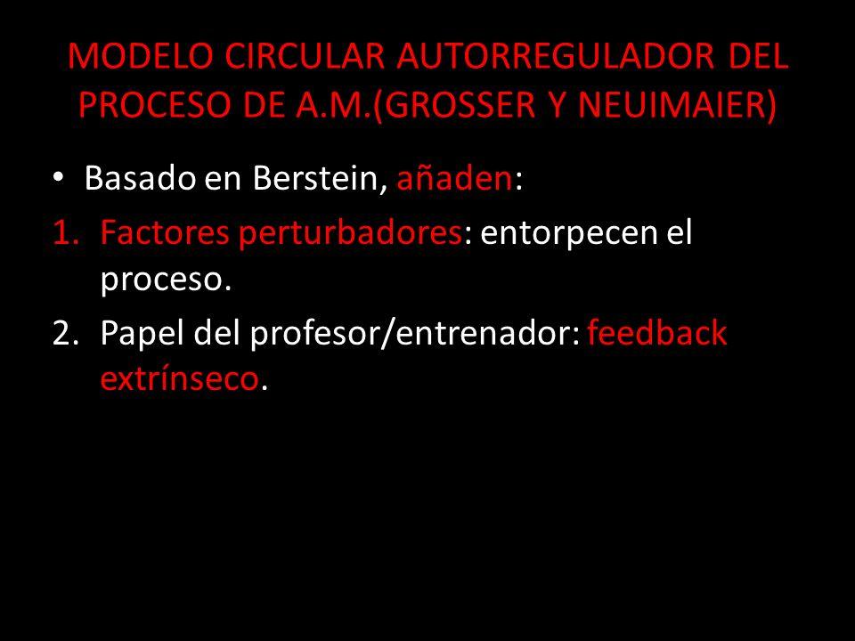 MODELO CIRCULAR AUTORREGULADOR DEL PROCESO DE A.M.(GROSSER Y NEUIMAIER) Basado en Berstein, añaden: Basado en Berstein, añaden: 1.Factores perturbador
