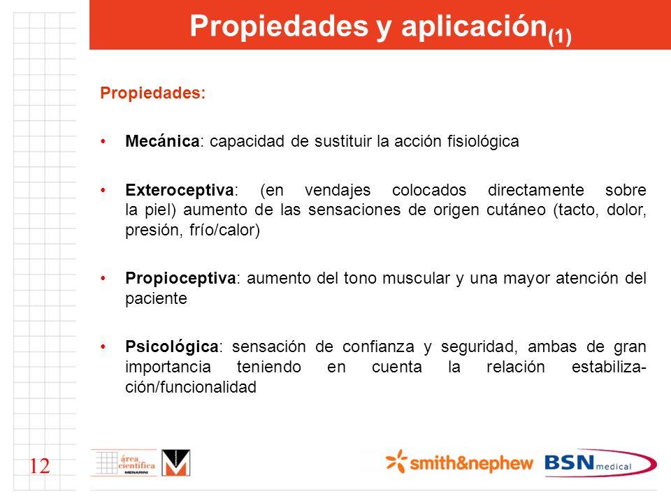 Propiedades y aplicación (1) Propiedades: Mecánica: capacidad de sustituir la acción fisiológica Exteroceptiva: (en vendajes colocados directamente so