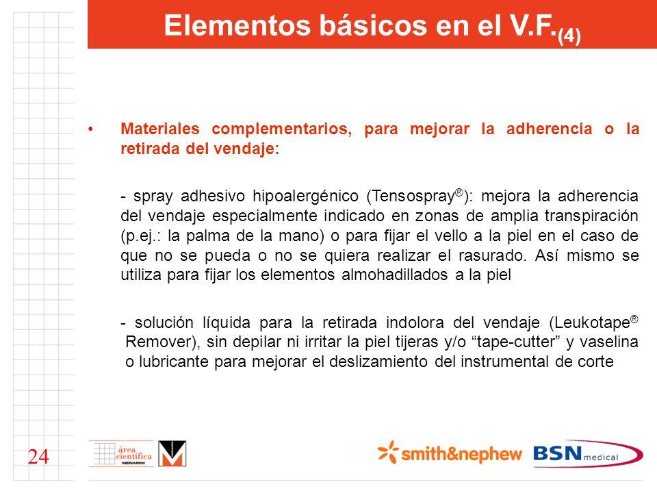 Elementos básicos en el V.F. (4) Materiales complementarios, para mejorar la adherencia o la retirada del vendaje: - spray adhesivo hipoalergénico (Te