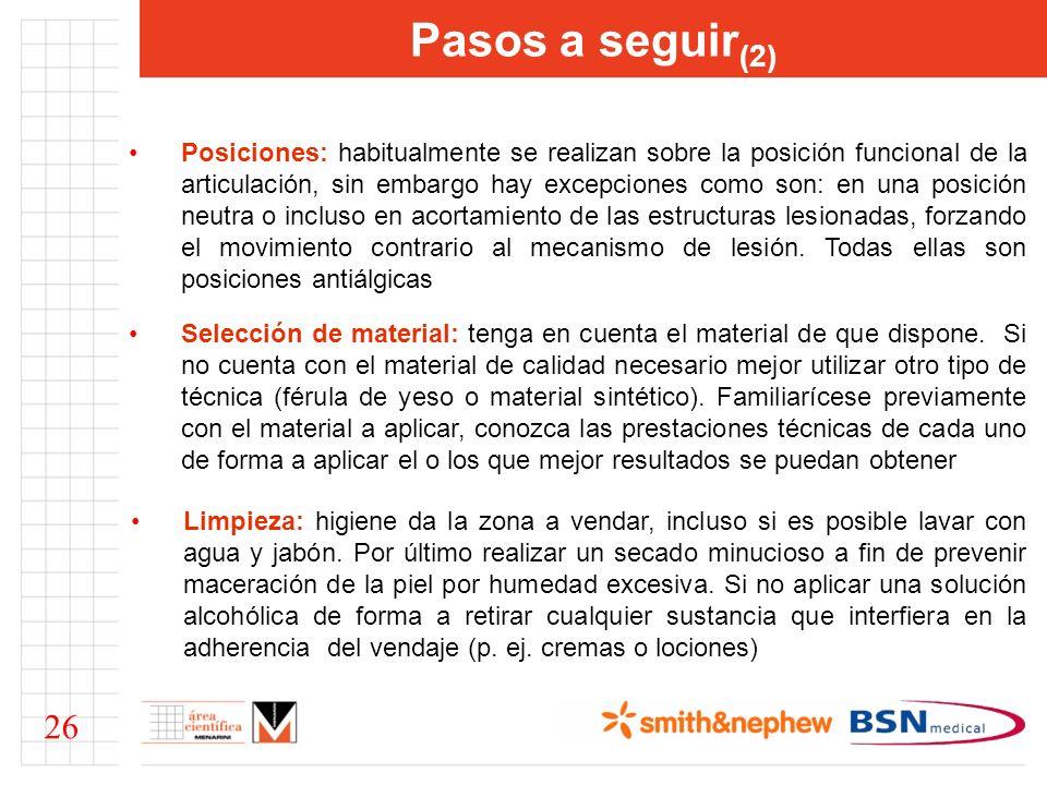 Pasos a seguir (2) Posiciones: habitualmente se realizan sobre la posición funcional de la articulación, sin embargo hay excepciones como son: en una