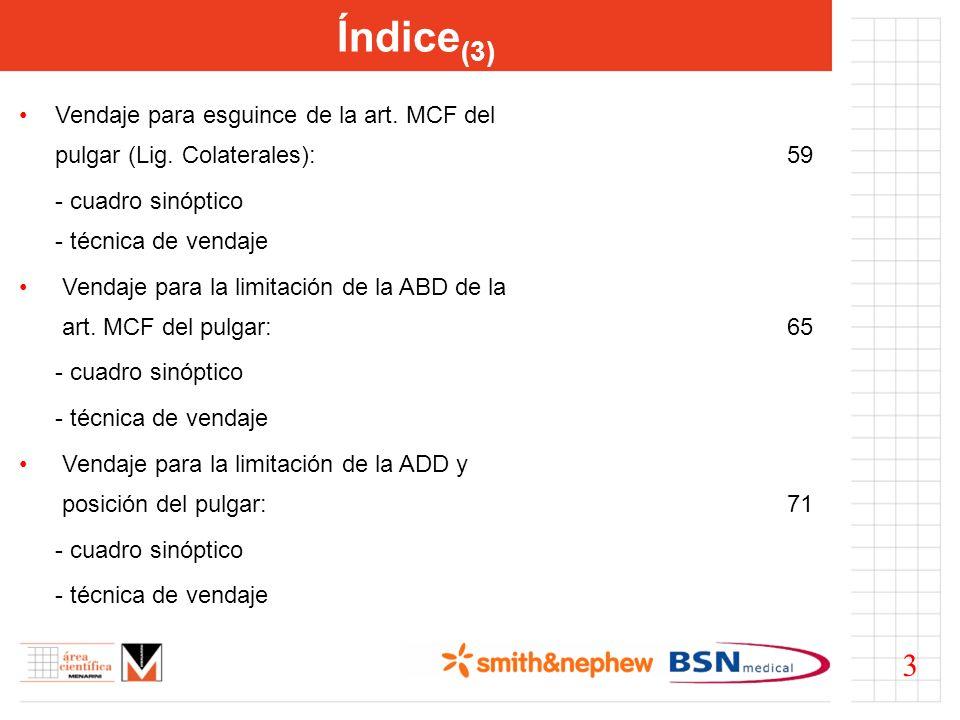 Índice (3) Vendaje para esguince de la art. MCF del pulgar (Lig. Colaterales):59 - cuadro sinóptico - técnica de vendaje Vendaje para la limitación de