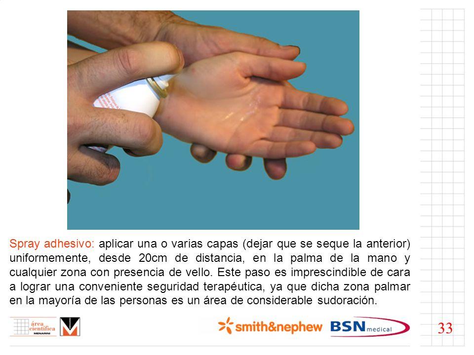 Prevendaje: de aplicarlo, será tipo muñequera cubriendo los pliegues de la muñeca para prevenir las lesiones dérmicas fruto del roce con el vendaje.