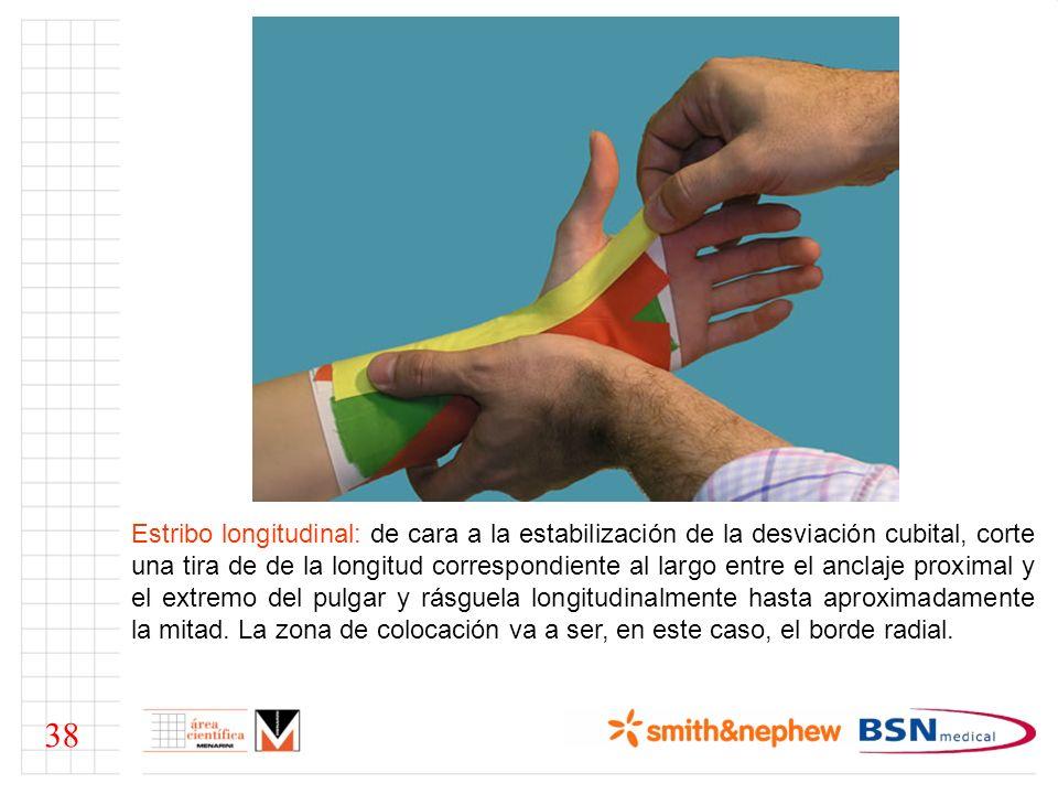 Nota: la posición más adecuada para la aplicación de esta y las siguientes tiras, de cara a obtener una buena relación entre funcionalidad y seguridad terapéutica, es forzar ligeramente la posición contraria al mecanismo de lesión.
