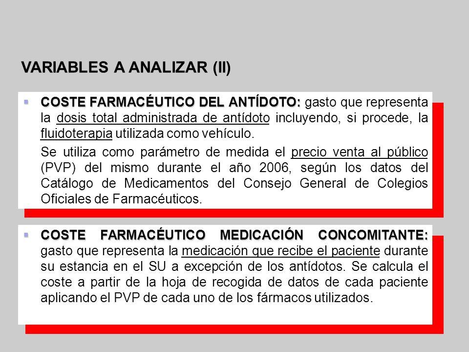 VARIABLES A ANALIZAR (II) COSTE FARMACÉUTICO DEL ANTÍDOTO: COSTE FARMACÉUTICO DEL ANTÍDOTO: gasto que representa la dosis total administrada de antído
