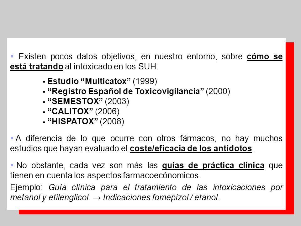 3 Existen pocos datos objetivos, en nuestro entorno, sobre cómo se está tratando al intoxicado en los SUH: - Estudio Multicatox (1999) - Registro Espa