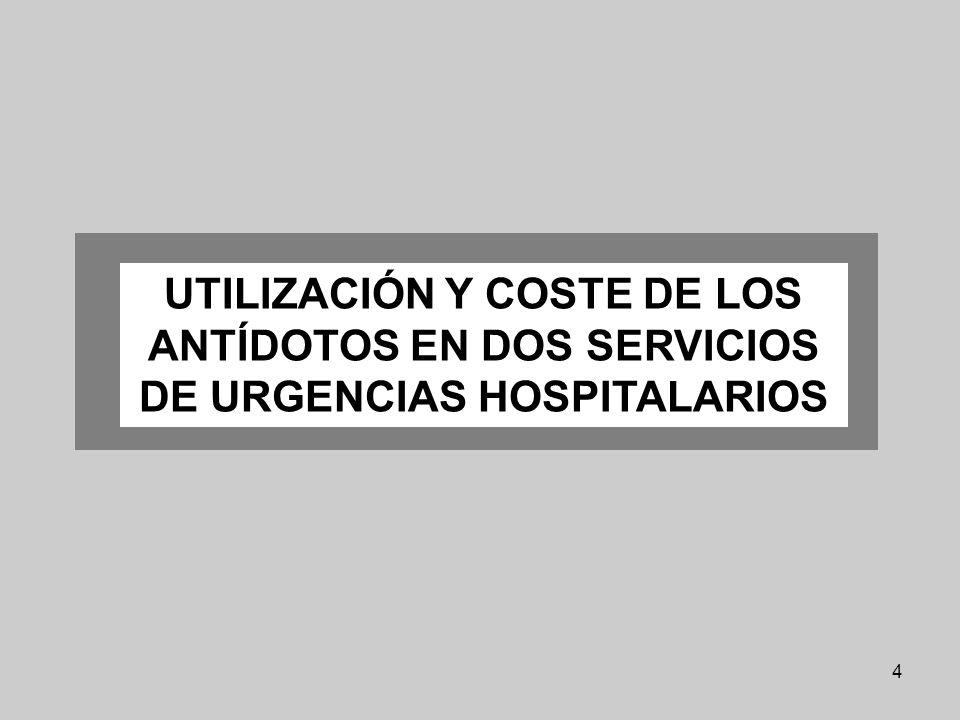 4 UTILIZACIÓN Y COSTE DE LOS ANTÍDOTOS EN DOS SERVICIOS DE URGENCIAS HOSPITALARIOS