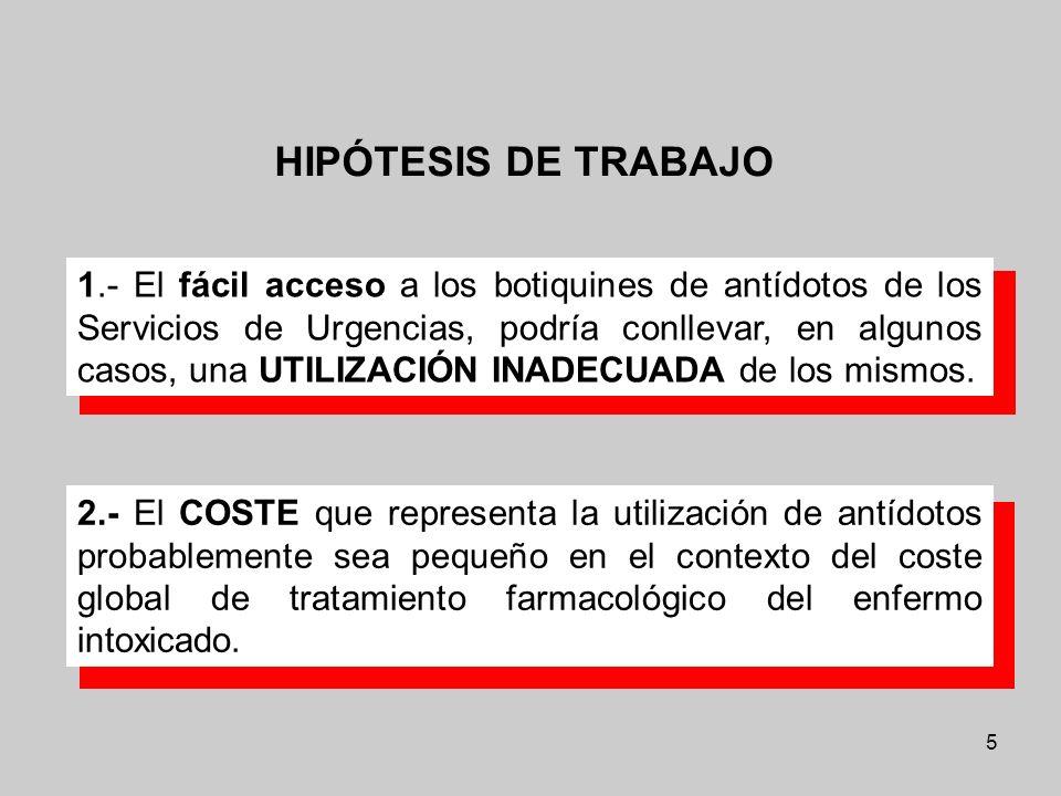 5 1.- El fácil acceso a los botiquines de antídotos de los Servicios de Urgencias, podría conllevar, en algunos casos, una UTILIZACIÓN INADECUADA de l