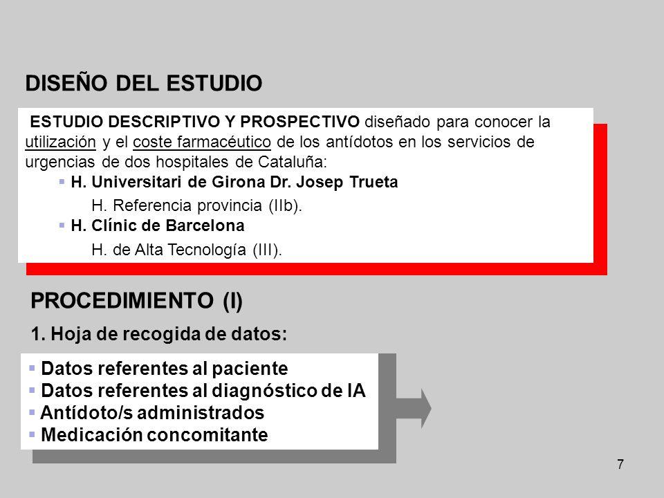 7 DISEÑO DEL ESTUDIO ESTUDIO DESCRIPTIVO Y PROSPECTIVO diseñado para conocer la utilización y el coste farmacéutico de los antídotos en los servicios