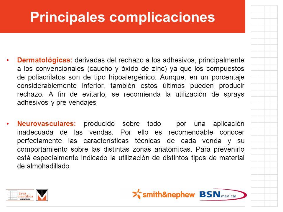 Principales complicaciones Dermatológicas: derivadas del rechazo a los adhesivos, principalmente a los convencionales (caucho y óxido de zinc) ya que