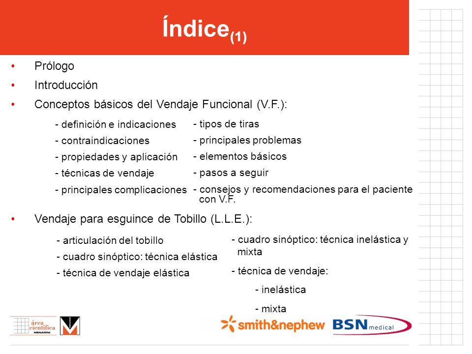 Índice (1) Prólogo Introducción Conceptos básicos del Vendaje Funcional (V.F.): - definición e indicaciones - contraindicaciones - propiedades y aplic