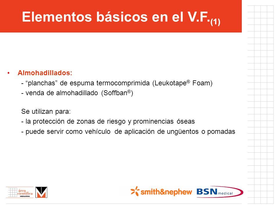 Elementos básicos en el V.F. (1) Almohadillados: - planchas de espuma termocomprimida (Leukotape ® Foam) - venda de almohadillado (Soffban ® ) Se util
