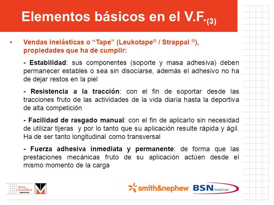 Elementos básicos en el V.F. (3) Vendas inelásticas o Tape (Leukotape ® / Strappal ® ), propiedades que ha de cumplir: - Estabilidad: sus componentes