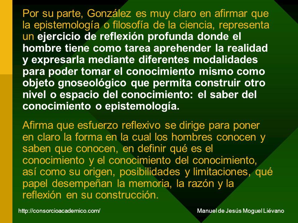 En otra de sus obras, González hace una aportación fundamental al estudio de la epistemología al identificar tres momentos cognitivos: óntico, ontológico y epistémico, que en los siguientes párrafos ampliamos la explicación de cada uno de estos momentos.