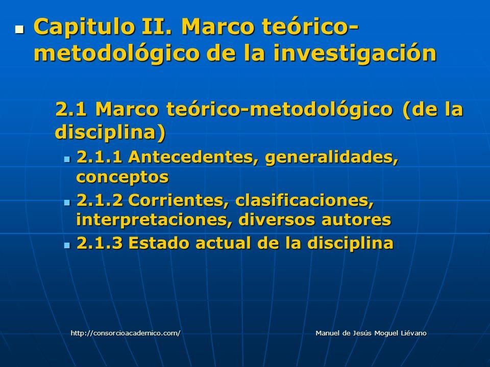 2.2 Marco teórico-metodológico del objeto de estudio 2.2.1 Naturaleza el objeto de estudio2.2.1 Naturaleza el objeto de estudio 2.2.2 Antecedentes, generalidades, conceptos2.2.2 Antecedentes, generalidades, conceptos 2.2.3 Corrientes, clasificaciones, interpretaciones, diversos autores2.2.3 Corrientes, clasificaciones, interpretaciones, diversos autores 2.2.4 Contextualización del objeto de estudio2.2.4 Contextualización del objeto de estudio 2.2.5 Situación actual y perspectivas del objeto de estudio2.2.5 Situación actual y perspectivas del objeto de estudio http://consorcioacademico.com/ Manuel de Jesús Moguel Liévano