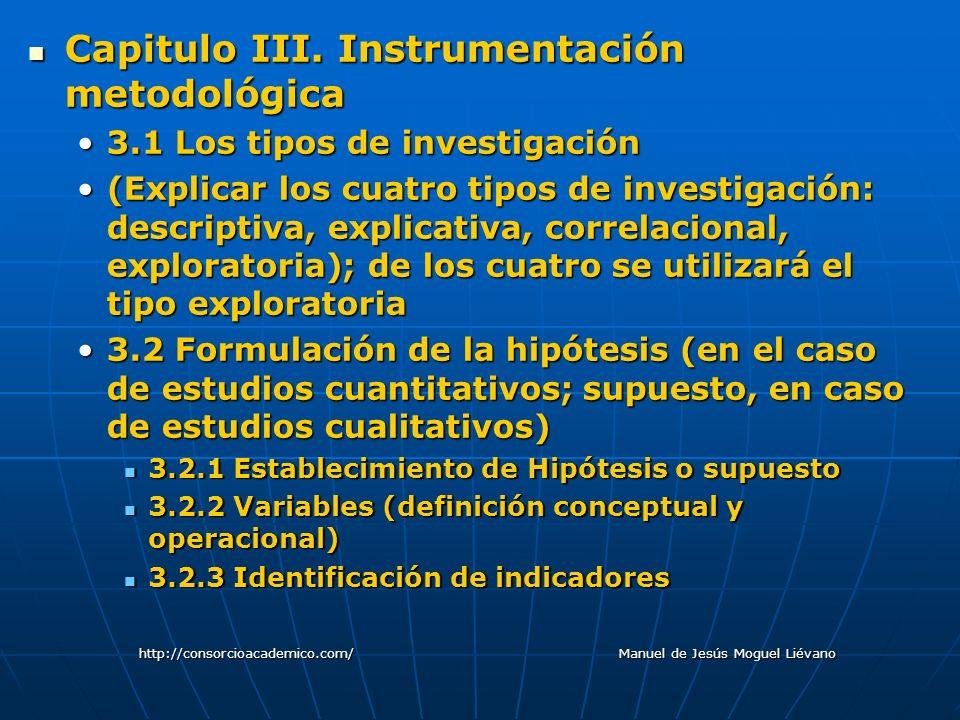 Capitulo III. Instrumentación metodológica Capitulo III. Instrumentación metodológica 3.1 Los tipos de investigación3.1 Los tipos de investigación (Ex