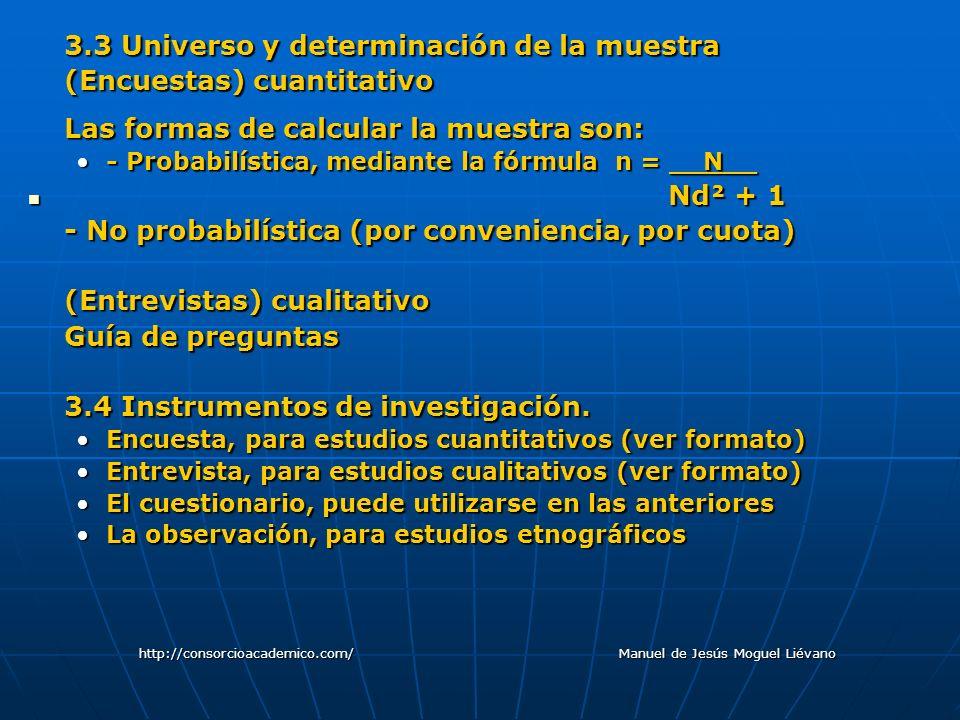3.3 Universo y determinación de la muestra (Encuestas) cuantitativo Las formas de calcular la muestra son: - Probabilística, mediante la fórmula n = _
