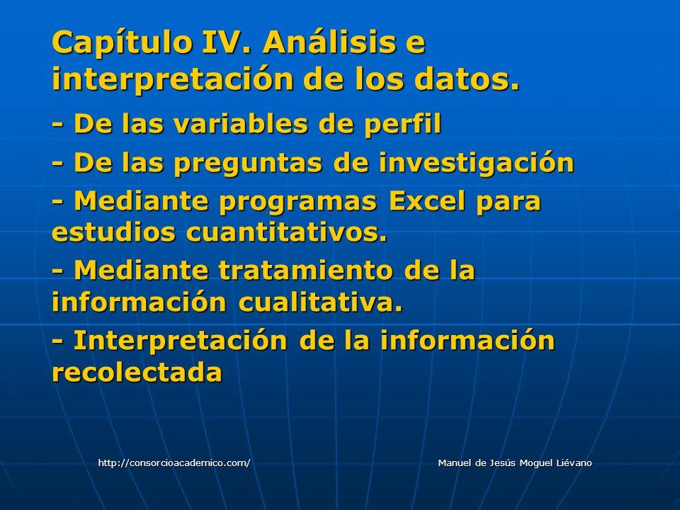 Capítulo IV. Análisis e interpretación de los datos. - De las variables de perfil - De las preguntas de investigación - Mediante programas Excel para