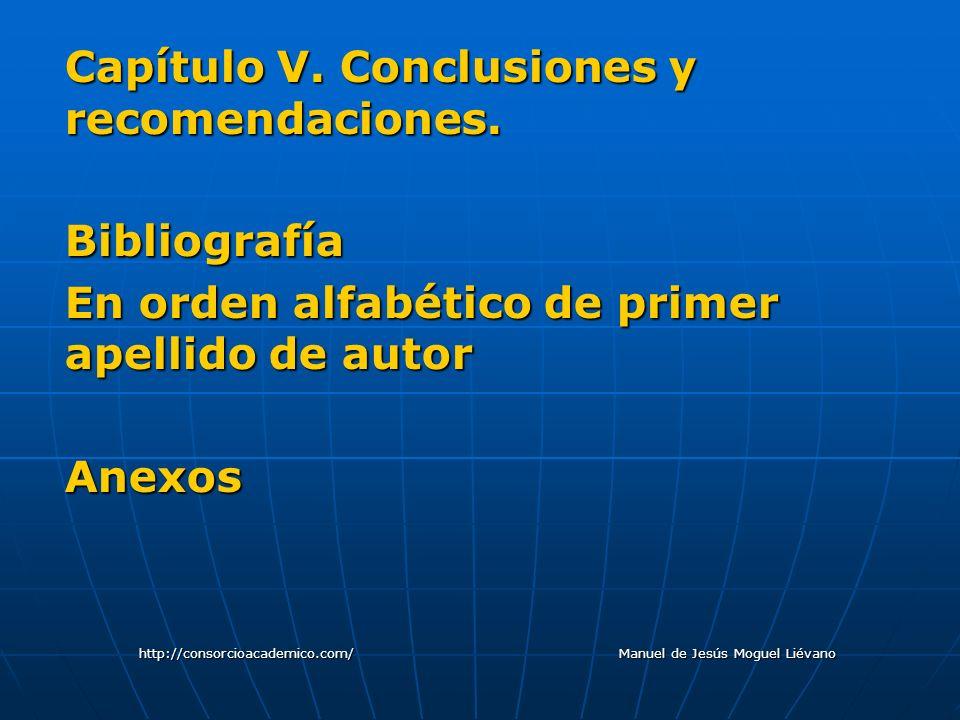 Capítulo V. Conclusiones y recomendaciones. Bibliografía En orden alfabético de primer apellido de autor Anexos http://consorcioacademico.com/ Manuel