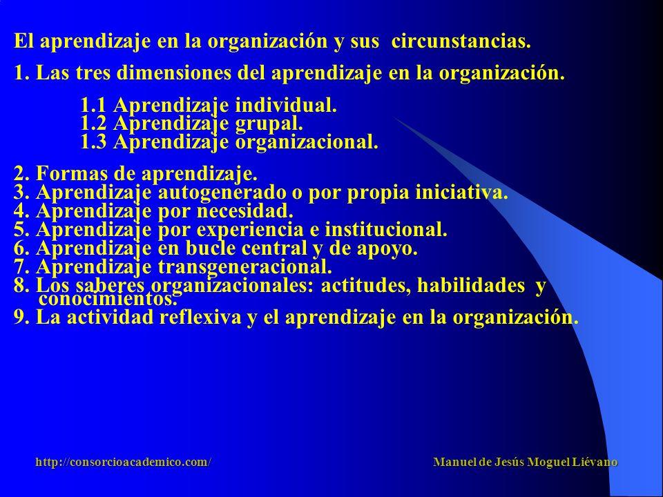 El aprendizaje en la organización y sus circunstancias. 1. Las tres dimensiones del aprendizaje en la organización. 1.1 Aprendizaje individual. 1.2 Ap