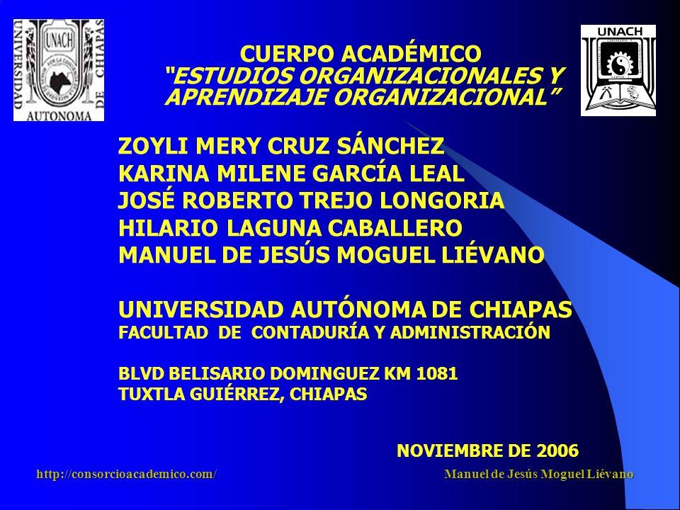 CUERPO ACADÉMICO ESTUDIOS ORGANIZACIONALES Y APRENDIZAJE ORGANIZACIONAL ZOYLI MERY CRUZ SÁNCHEZ KARINA MILENE GARCÍA LEAL JOSÉ ROBERTO TREJO LONGORIA