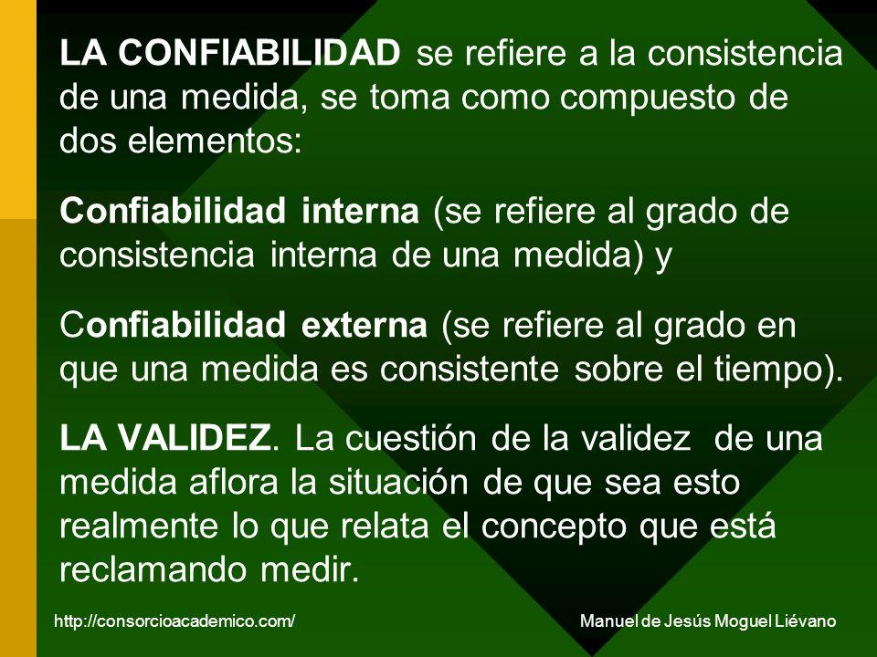 LA CONFIABILIDAD se refiere a la consistencia de una medida, se toma como compuesto de dos elementos: Confiabilidad interna (se refiere al grado de co
