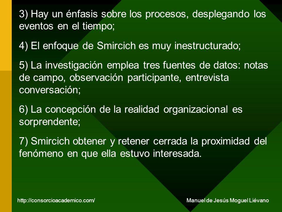 3) Hay un énfasis sobre los procesos, desplegando los eventos en el tiempo; 4) El enfoque de Smircich es muy inestructurado; 5) La investigación emple