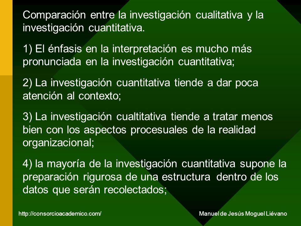Comparación entre la investigación cualitativa y la investigación cuantitativa. 1) El énfasis en la interpretación es mucho más pronunciada en la inve