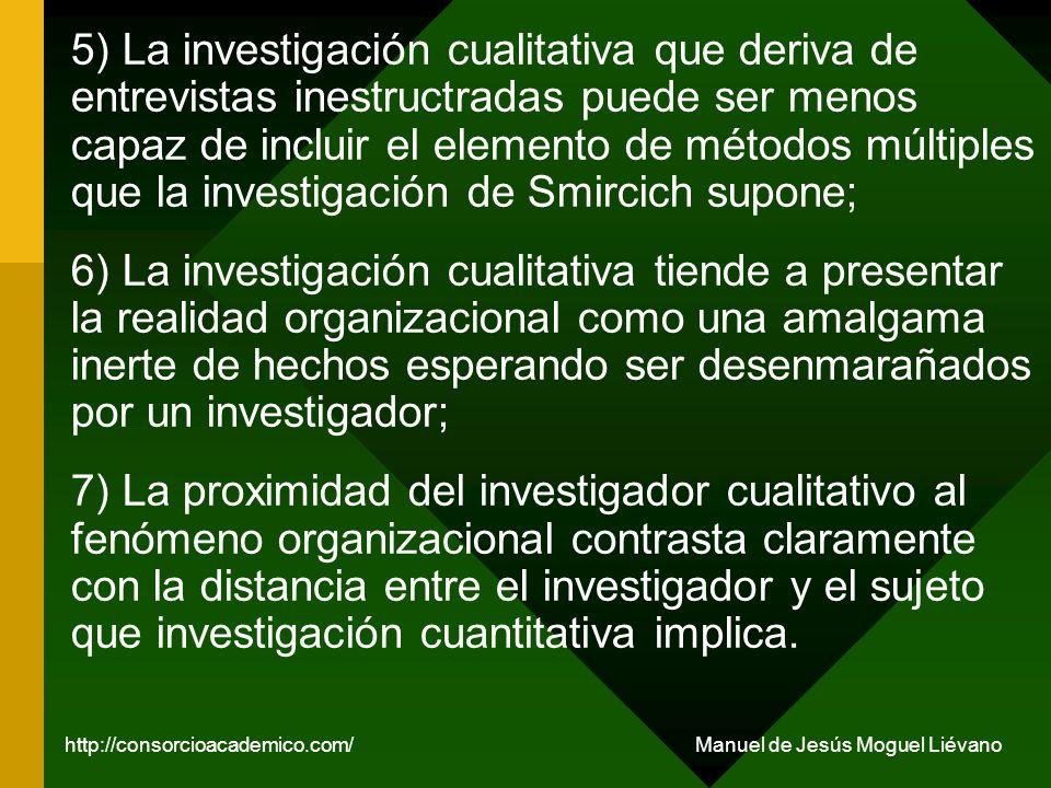 5) La investigación cualitativa que deriva de entrevistas inestructradas puede ser menos capaz de incluir el elemento de métodos múltiples que la inve